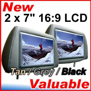 """2 x 7"""" TFT LCD Headrest Autoradio for TV DVD MP3 Player (Beige, grey and black colour available)"""