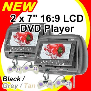 """2 x 7"""" LCD Headrest DVD VCD CD MP3 JPG Player (Beige, grey and black colour available)"""