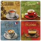 Caffee Cups Worlds - Stone Coasters - Set of 4 pcs. - 10 x 10 cm