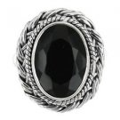 Pure 925 Sterling Silver Solid Ring Studded with Black Onyx Size 6 to 12 (US)