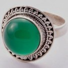 Pure 925 Sterling Silver Solid Ring Studded with Green Onyx Size 6 to 12 (US)