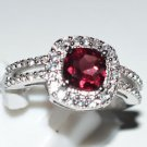 Pure 925 Sterling Silver Solid Ring with Garnet, White Topaz Size 8.5 (US)