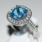 Pure Silver Solid Ring Studded with Blue Topaz & White Topaz Size 8.5 (US)