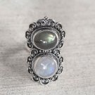 Pure Sterling Silver Solid Ring with Rainbow Moonstone, Labradorite Size 6-12 US