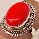 Pure 925 Sterling Silver Solid Ring Studded with Coral Size 6 to 12 (US)