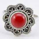 Pure 925 Sterling Silver Solid Ring Studded with Coral Custom Size 6 to12 (US)