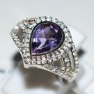 Pure 925 Sterling Silver Solid Ring with Amethyst & White Topaz Size 6 (US)