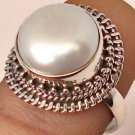 Pure 925 Sterling Silver Solid Ring Studded with Pearl Custom Size 6 to 12 (US)
