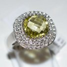 Pure 925 Sterling Silver Solid Ring with Lemon Quartz, White Topaz Size 6.0 US
