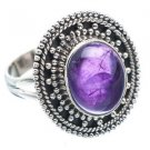Pure 925 Sterling Silver Solid Ring Studded with Amethyst Size 6 to 12 (US)