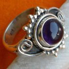 Pure 925 Sterling Silver Solid Ring with Amethyst Custom Size 6-12 (US)