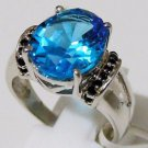 Pure 925 Sterling Silver Solid Ring with Blue Topaz, Black Spinel Size 7.5 (US)