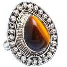 Pure 925 Sterling Silver Solid Ring Studded with Tiger Eye Custom Size 6 to12 US
