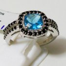 Pure 925 Sterling Silver Solid Ring with Blue Topaz, Black Spinel US size 7.5