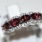 Pure 925 Sterling Silver Solid Fancy Ring Studded with Garnet Size 6.0 (US)