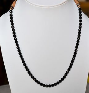 "Fine AAA Quality 6 mm Faceted Black Spinel Rondelle Beads Necklace 14"" Length"