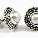 Pure 925 Sterling Silver Solid Stud Earrings Studded with Fresh Water Pearl