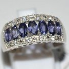 Pure Sterling Silver Solid Ring Studded with Iolite, White Topaz Size 7.5(US)