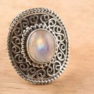 Pure 925 Sterling Silver Solid Ring with Rainbow Moonstone Size 6 to 12 (US)