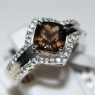 Pure 925 Sterling Silver Solid Ring with Smoky Quartz,White Topaz Size 8.0 (US)