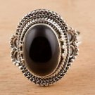 Pure 92.5 Solid Sterling Silver Genuine Black Onyx Handmade Ring Size 4 to 13 US