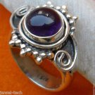 Pure 92.5 Solid Sterling Silver Genuine Amethyst Handmade Ring Size 4-13 (US)