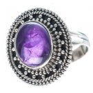 Pure 92.5 Solid Sterling Silver Genuine Amethyst Handmade Ring Size 4 to 13 (US)