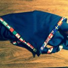 Blank Blue Neckerchief Foulard with World Scouting flags stripe all around