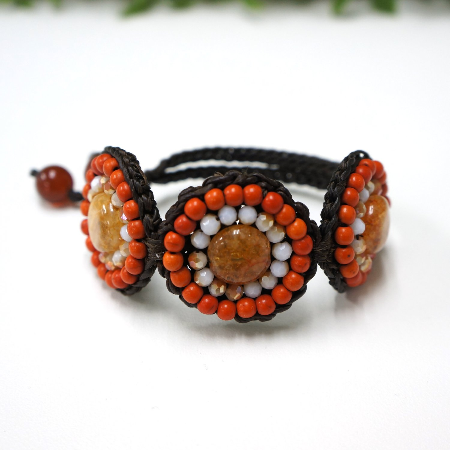 Waxed cotton bracelet with bead and crystal (orange)