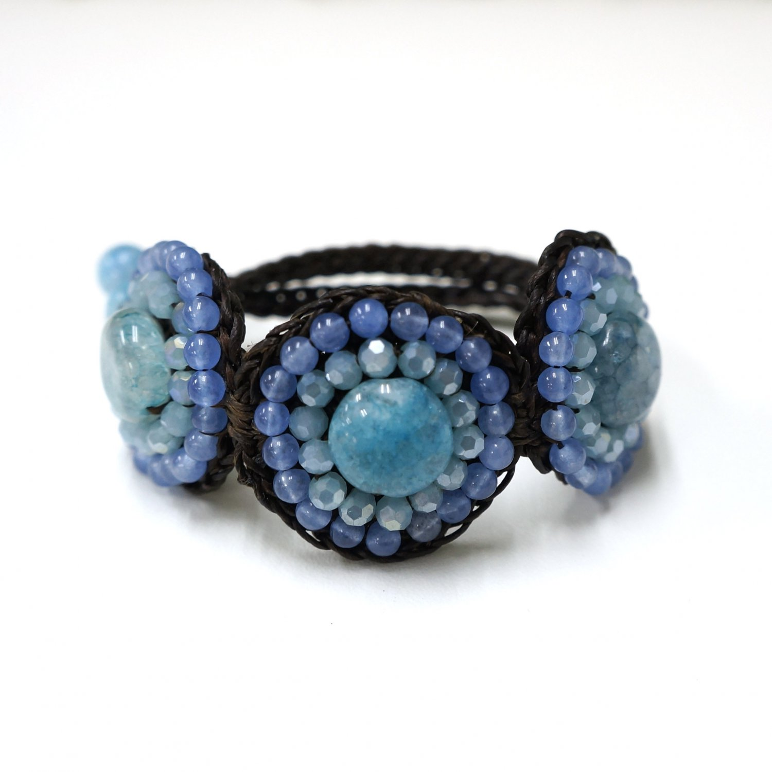 Waxed cotton bracelet with bead and crystal (Blue)