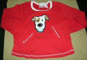 Girls Red Long Sleeve Top With Dog Face 10 12 L