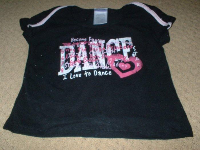 "Danskin Black Pink ""I love to Dance"" Top Size 4 5"