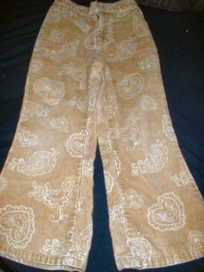 Girls Gold Paisley & Heart Print Corduroy Jeans Size 5