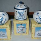 Blue Delft China 3 PC Candle Holder Lot Set  CL2