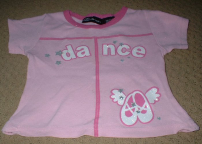 """Girls Pink """"Dance"""" Shirt with Ballet Slippers Size 4 5"""