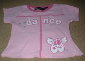 "Girls Pink ""Dance"" Shirt with Ballet Slippers Size 4 5"