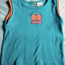 Girls Blue & Orange Embroidered Tank Shirt Size 5T