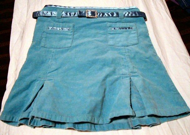 Girls Blue Skirt with Satin Belt Size 6 6X