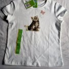 Girls New White Top with Kitten Size 6 6X