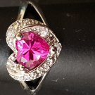 Pink Sapphire Heart Ring 10K White Gold Plated Free Shipping US
