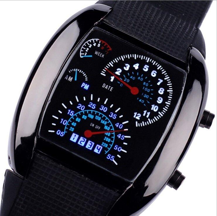 Men Aviation Luminous LED Silicone Calendar Wrist Watches