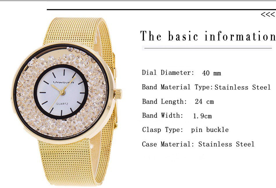Fashion Luxury Stainless Steel Gold And Silver Band Lady Wristwatch