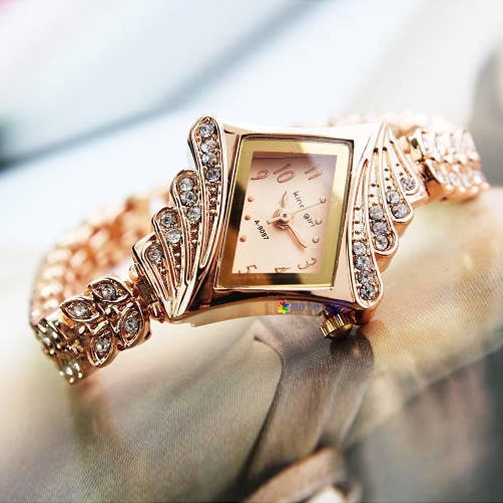 New Fashion Women Alloy Crystal Quartz Rhombus Bracelet Bangle Wrist Watch MTC