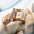New Fashion Women Alloy Crystal Quartz Rhombus Bracelet Bangle Wrist Watch MTC