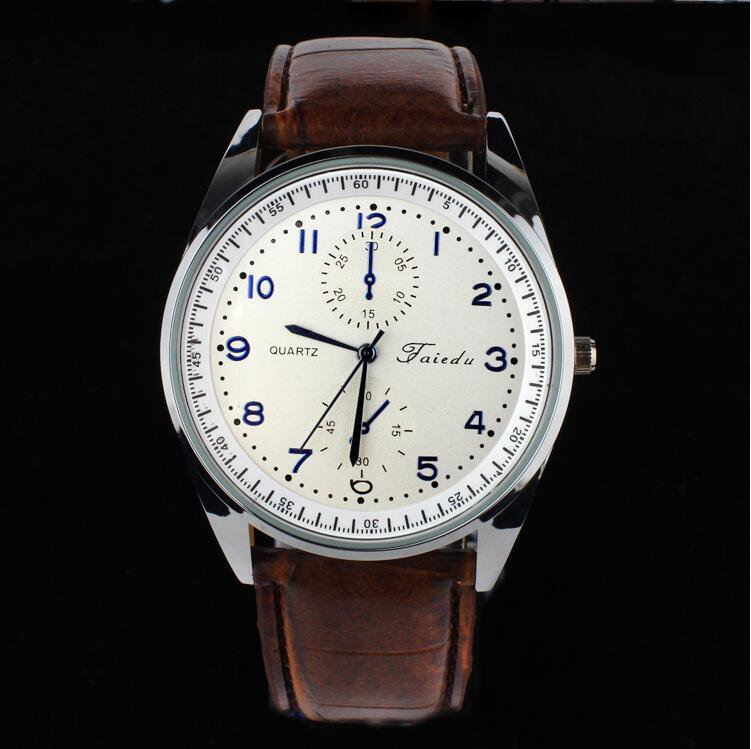Fashion Cool Famous New Retro Men's Leather Quartz Watches Stainless Steel