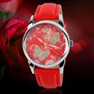 Mechanical Watch Leather Strap Ladies Watches Female Students Casual Watches  Red