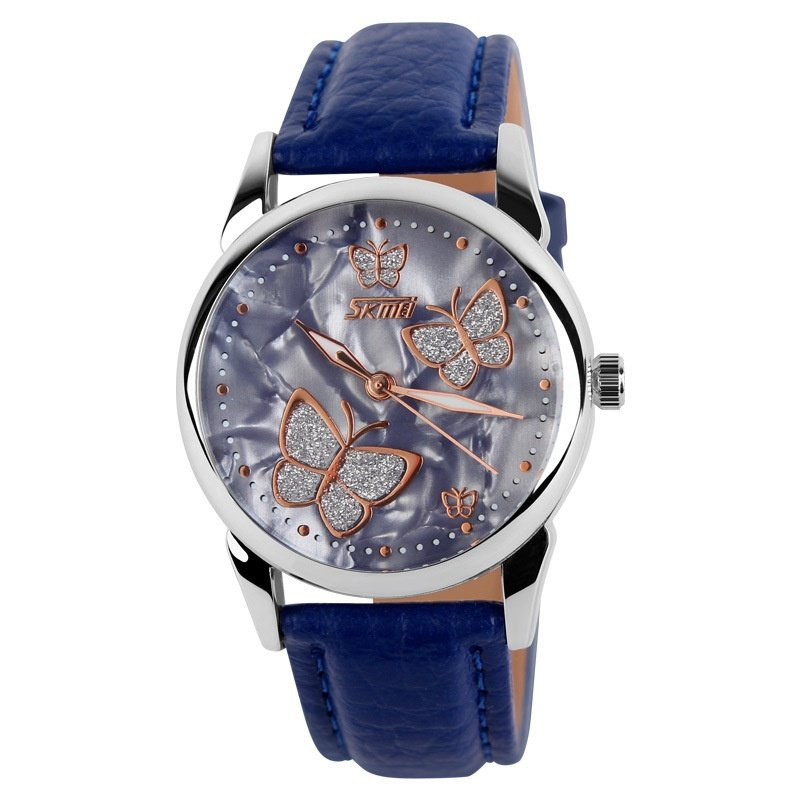 Mechanical Watch Leather Strap Ladies Watches Female Students Casual Watches  Blue