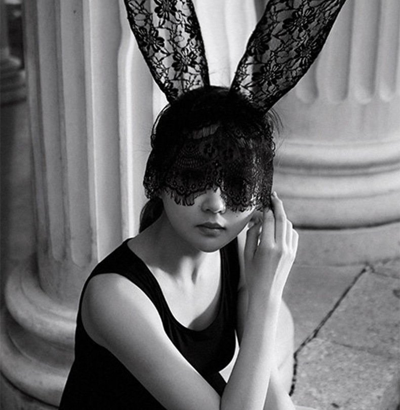 lady gaga lace veil rabbit ears hair bands masks gift