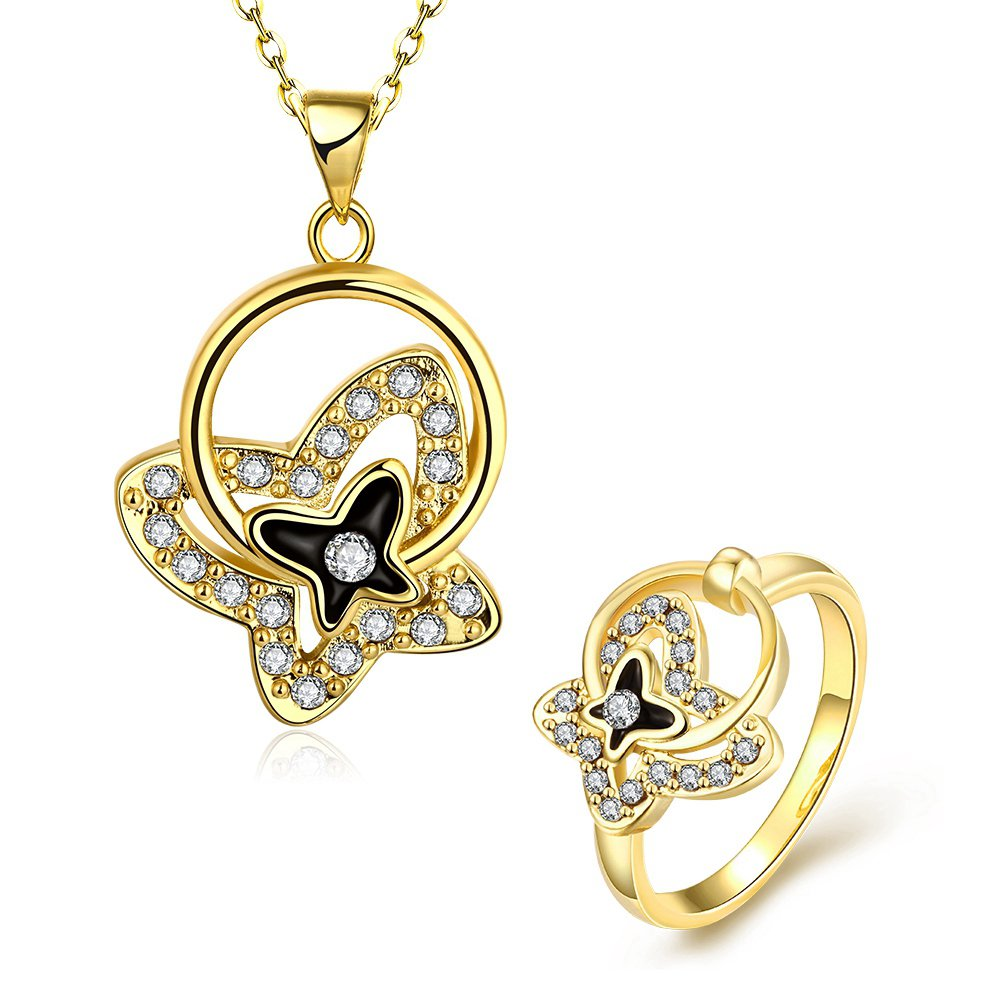 S537-A Fashion Nickel and lead free mixed styles 18k gold plating jewelry set