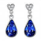 zircon earrings water droplets Noble blue women fashion jewelry crystal